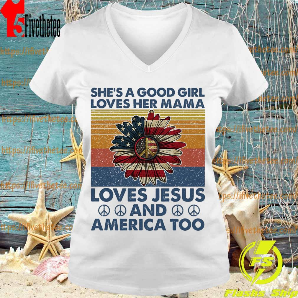 Hippie Sunflower She's a good girl loves her Mama loves Jesus and America too vintage s V-neck