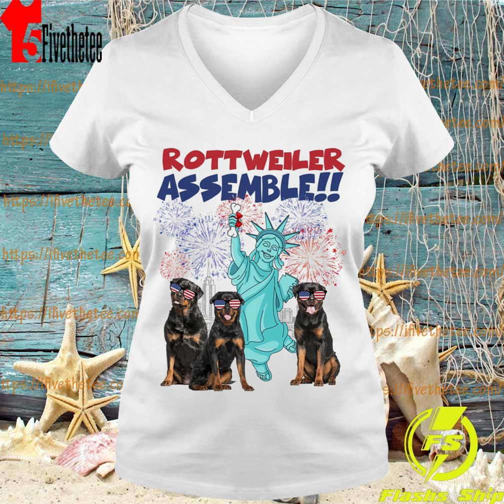 Rottweiler Assemble happy independence American s V-neck