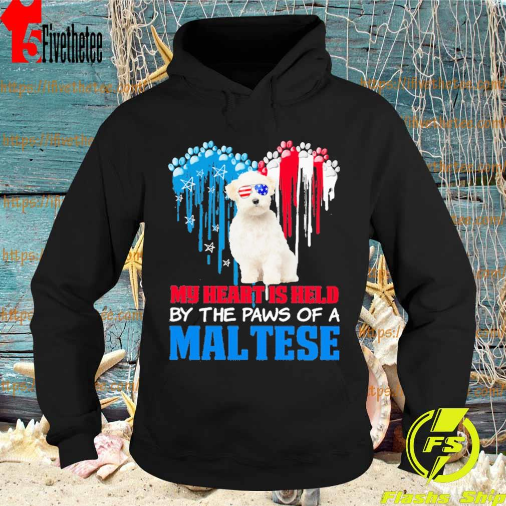 Happy the 4th of July My heart is held by the paws of a maltese s Hoodie