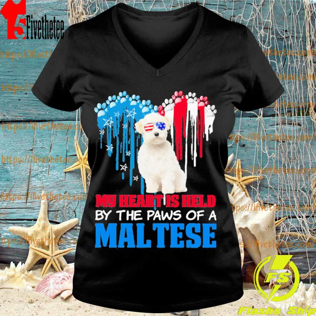 Happy the 4th of July My heart is held by the paws of a maltese s V-neck