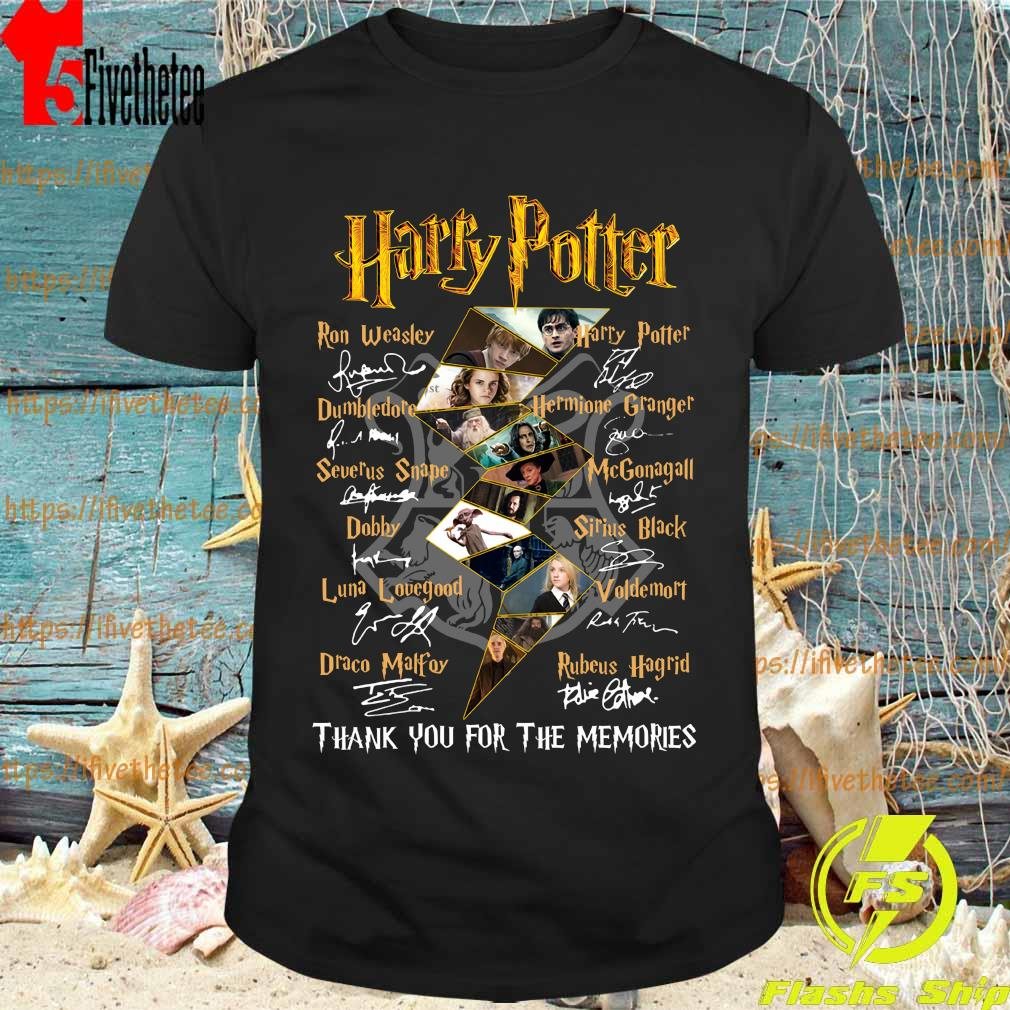 Harry Potter logo characters thank You for the memories signatures shirt