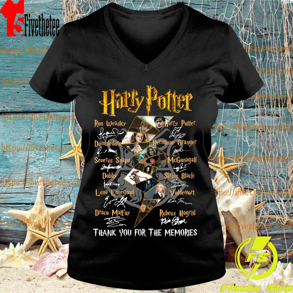 Harry Potter logo characters thank You for the memories signatures s V-neck