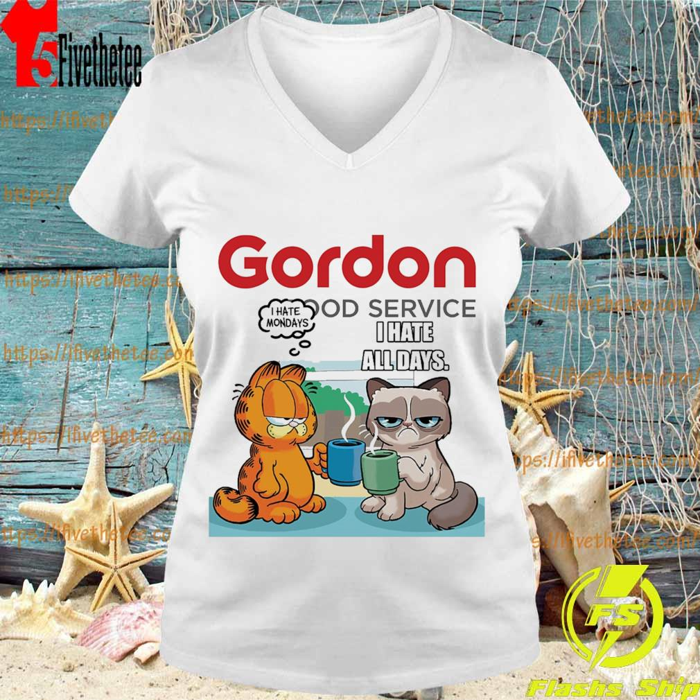 Gordon Food service Grumpy Cat and Garfield I Hate all days s V-neck