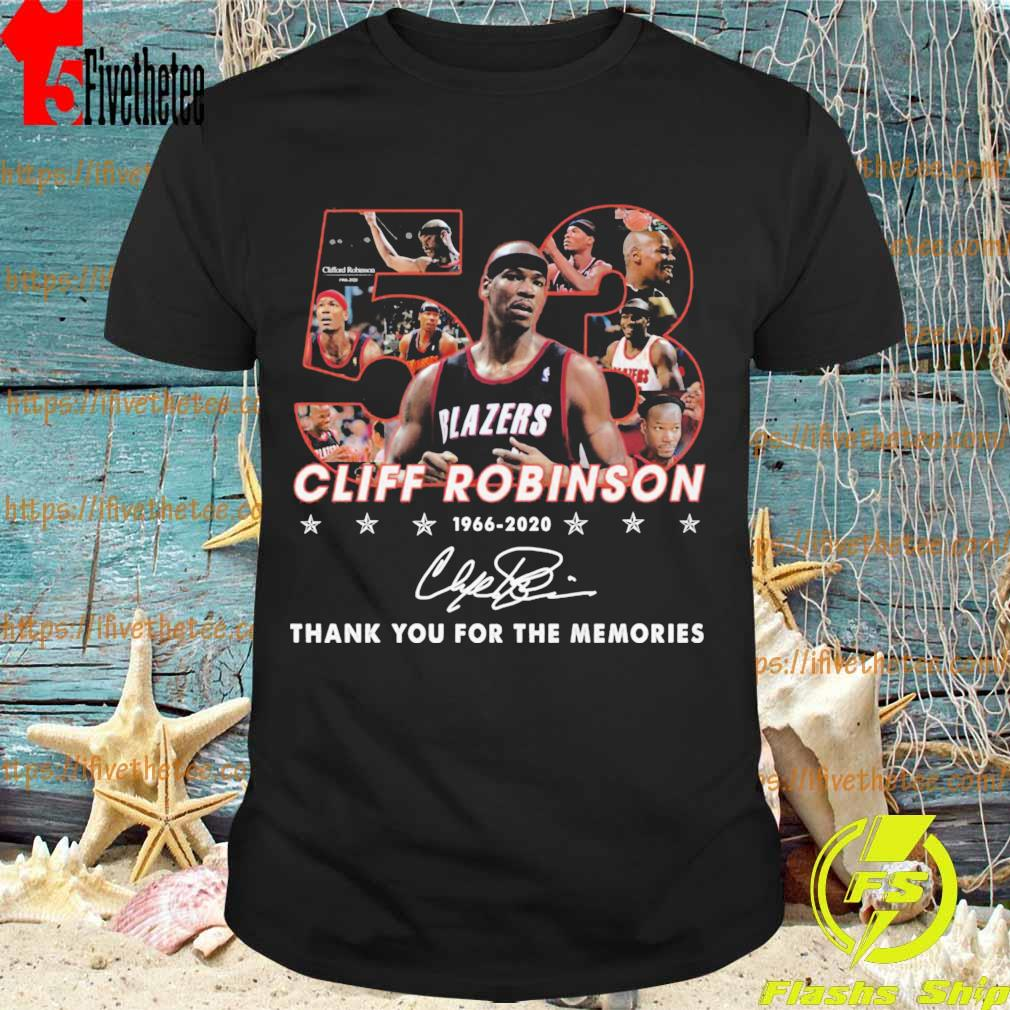 53 Cliff Robinson 1966 2020 thank yuou for the memories signature shirt