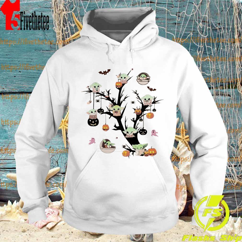 Baby Yoda On Tree Happy Halloween Shirt Hoodie Sweater Long Sleeve And Tank Top