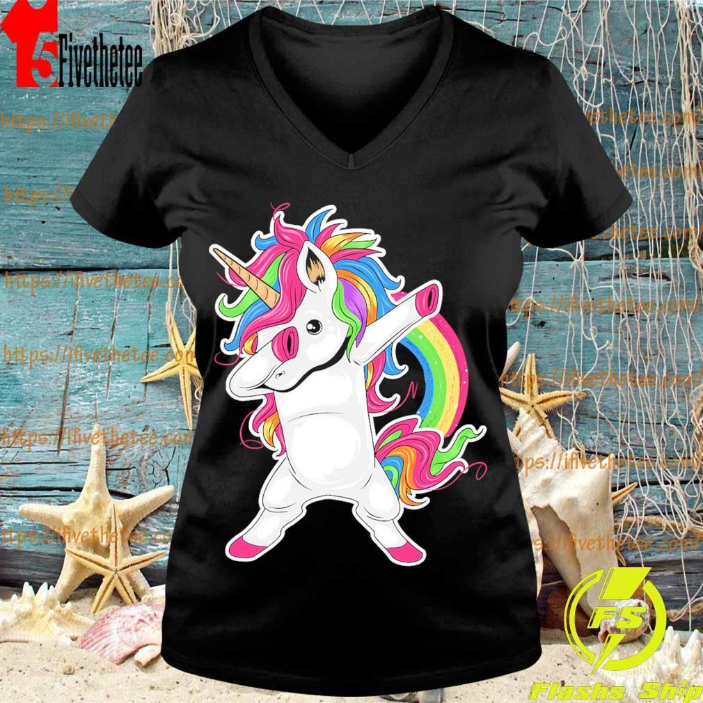 Cute Unicorn Dabbing pride s V-neck