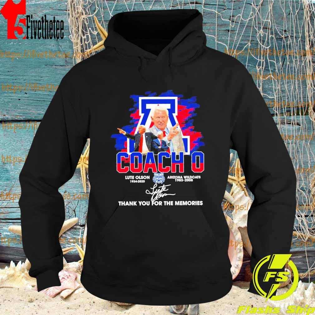 Official Coach O Lute Olson Arizona Wildcats 1983 2008 thank you for the memories signature s Hoodie