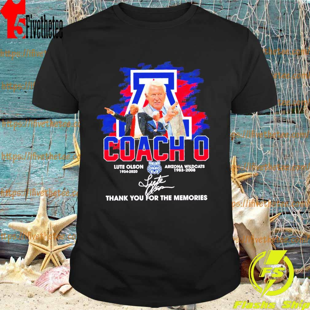 Official Coach O Lute Olson Arizona Wildcats 1983 2008 thank you for the memories signature shirt