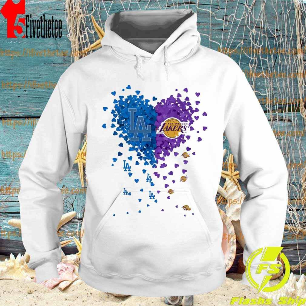 Official Los Angeles Dodgers vs Los Angeles Lakers heart s Hoodie