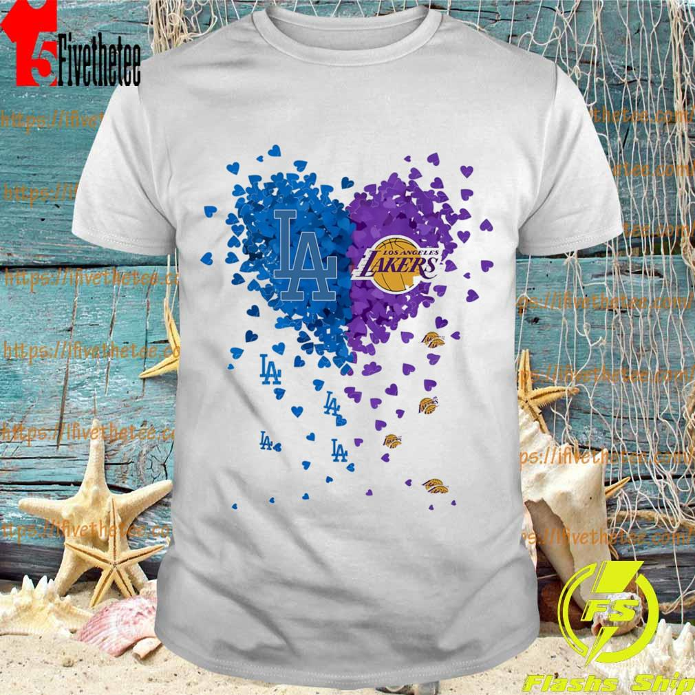 Official Los Angeles Dodgers vs Los Angeles Lakers heart shirt