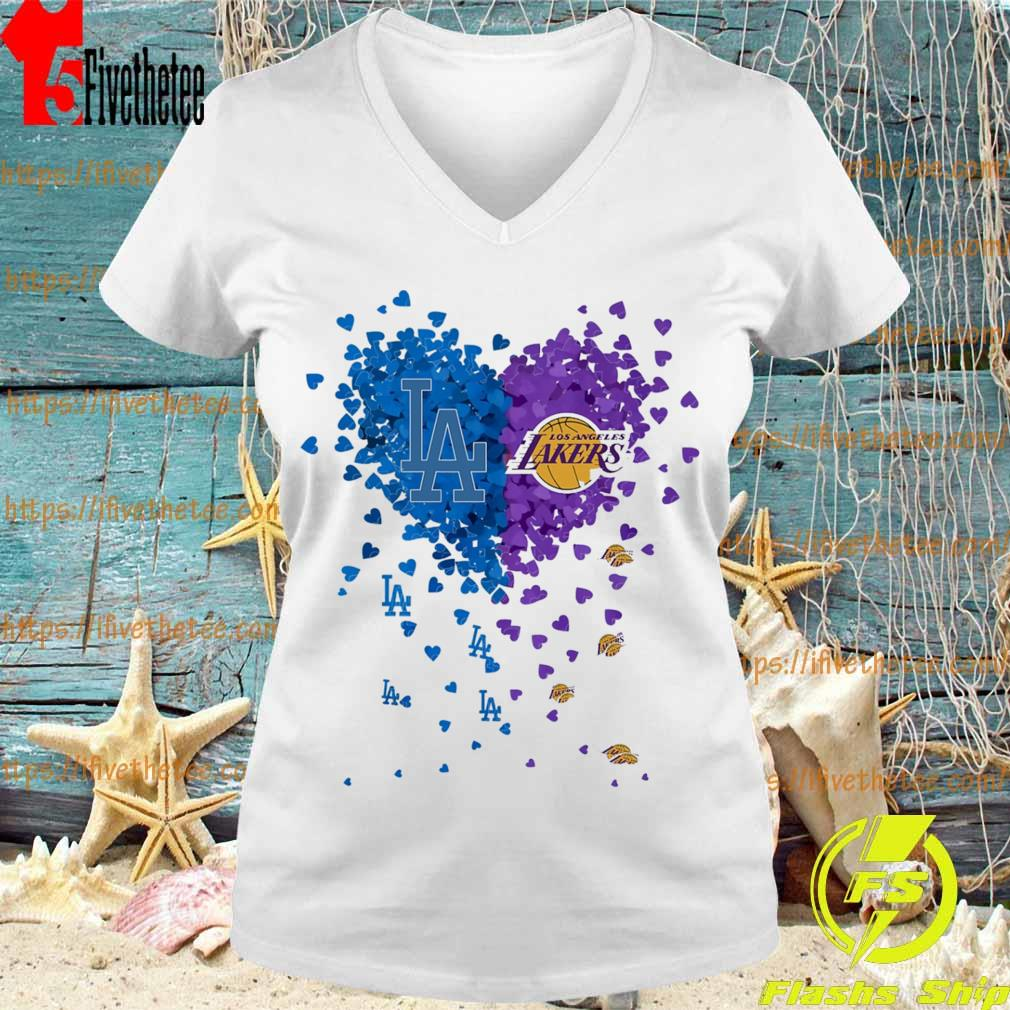 Official Los Angeles Dodgers vs Los Angeles Lakers heart s V-neck