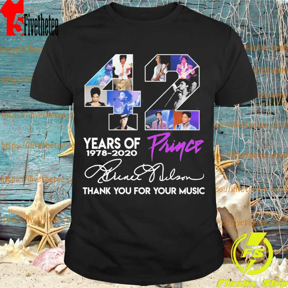 Prince 42 years of 1978 2020 thank you for the memories signatures shirt