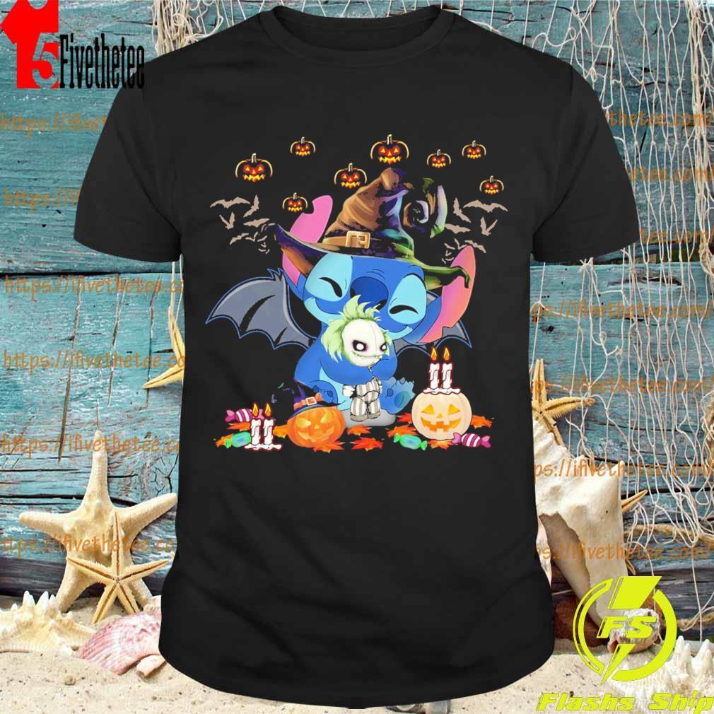 Stitch Hug Jack Skellington Happy Halloween Shirt Hoodie Sweater Long Sleeve And Tank Top