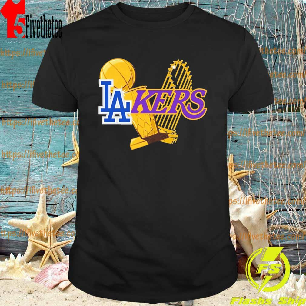 Dodgers Lakers 2020 World Champions Trophies shirt
