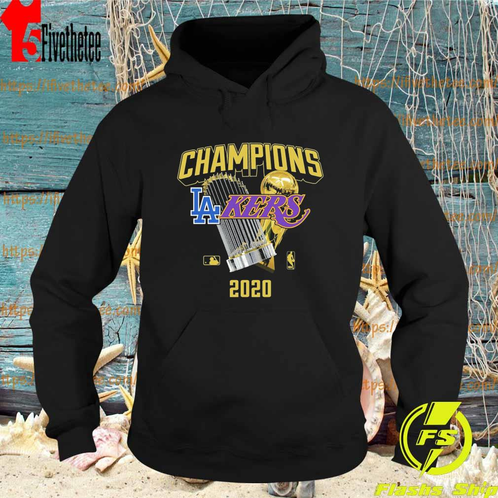 Los Angeles Dodgers Lakers 2020 World Champions Trophies s Hoodie