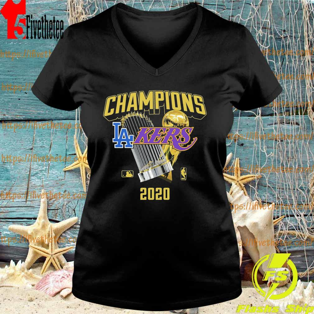 Los Angeles Dodgers Lakers 2020 World Champions Trophies s V-neck