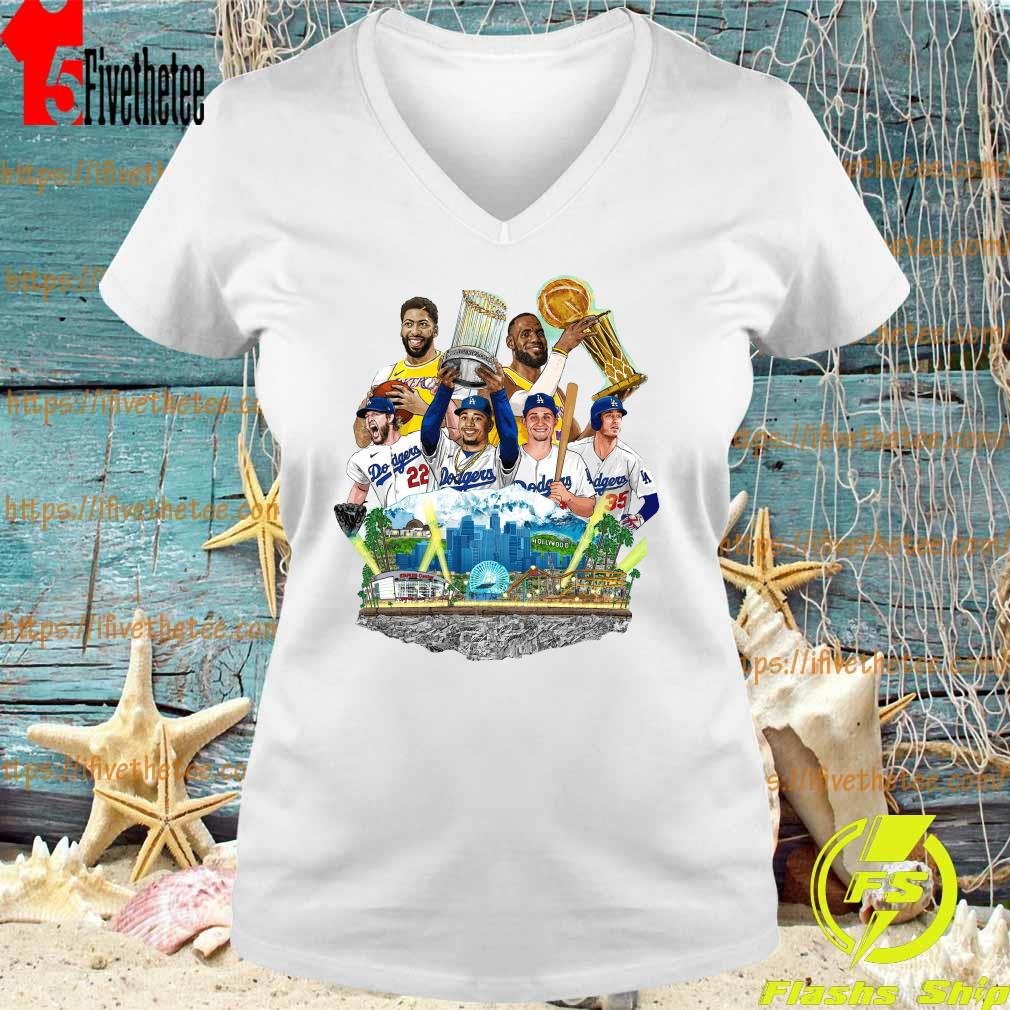 Official Los Angeles Dodgers And Los Angeles Lakers Champions 2020 Player Shirt V-neck