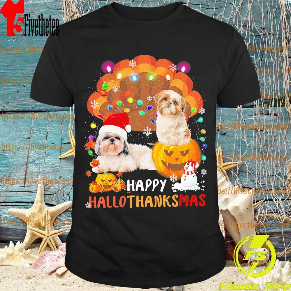 Two Shih Tzu Happy Hallothanksmas shirt